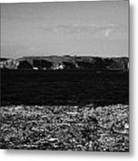 Lifebelt On Rocks At Ballintoy With Moyle Sea And Rathlin Island Metal Print by Joe Fox