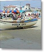Lifeguard Boat At Ocean City Boardwalk New Jersey Metal Print