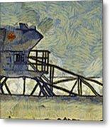Lifeguard Station 17 Metal Print by Ernie Echols