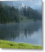 Lifting Fog On The Yellowstone Metal Print