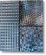 Light Blue And Brown Textural Abstract Metal Print