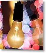 Light Bulb And Bokeh Metal Print