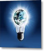 Light Bulb With Globe Metal Print