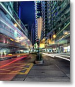 Light Trails On Street At Night Metal Print