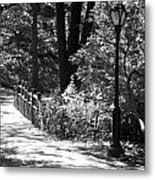 Lighted Bridge In Black And White Metal Print