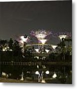 Lighted Supertrees Of The Gardens By The Bay In Singapore Metal Print