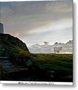 Lighthouse And Horse Metal Print
