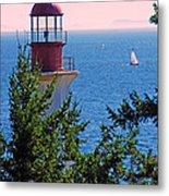 Lighthouse And Sailboats Metal Print