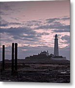 Lighthouse At Low Tide II Metal Print