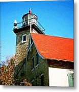 Lighthouse In The Fall Metal Print
