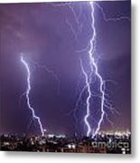 Lightning In The City Metal Print