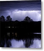 Lightning Over Coot Lake Metal Print