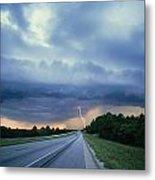 Lightning Over Highway, Bee Line Metal Print