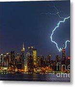 Lightning Over New York City Vii Metal Print