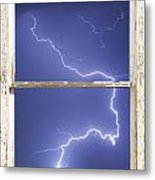 Lightning Strike White Barn Picture Window Frame Photo Art  Metal Print