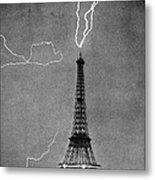 Lightning Strikes Eiffel Tower, 1902 Metal Print
