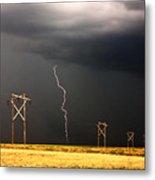 Lightning Striking Behind Saskatchewan Power Line Metal Print