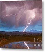 Lightning Striking Longs Peak Foothills 2 Metal Print