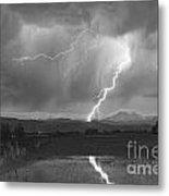 Lightning Striking Longs Peak Foothills 2bw Metal Print