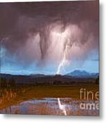 Lightning Striking Longs Peak Foothills 3 Metal Print