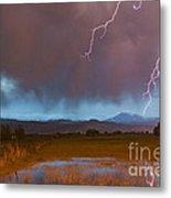 Lightning Striking Longs Peak Foothills 5 Metal Print