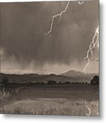 Lightning Striking Longs Peak Foothills 5bw Sepia Metal Print