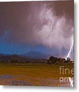 Lightning Striking Longs Peak Foothills 8 Metal Print