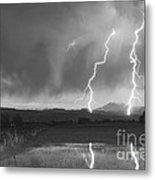 Lightning Striking Longs Peak Foothills Bw Metal Print