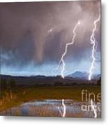 Lightning Striking Longs Peak Foothills Metal Print