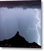 Lightning Thunderstorm At Pinnacle Peak Metal Print