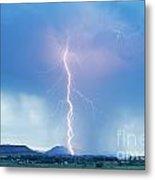 Lightning Twine Striking The Colorado Rocky Mountain Foothills Metal Print