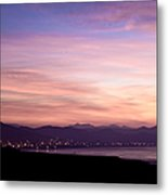 Lights Emanating From City In Distance Metal Print