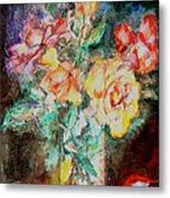 Lilies In Glass Metal Print