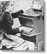 Lillian Sholes, The First Typist, 1872 Metal Print