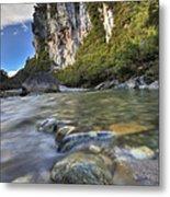 Limestone Cliffs And Fox River, Paparoa Metal Print