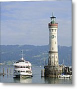 Lindau Harbor With Ship Bavaria Germany Metal Print by Matthias Hauser