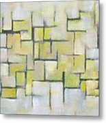 Line Series Blue And Yellow Metal Print