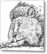Lion-art-black-white Metal Print