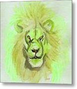 Lion Green Metal Print