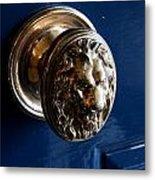 Lion Head Door Knob Metal Print