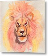 Lion Orange Metal Print
