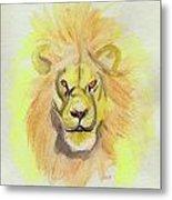 Lion Yellow Metal Print