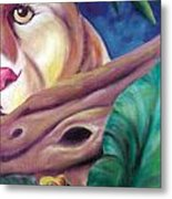 Lioness And Frog Metal Print by Juliana Dube