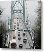Lions Mist Lions Gate Bridge From Stanley Park Vancouver Bc Metal Print by Andy Smy