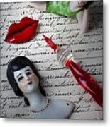 Lips Pen And Old Letter Metal Print