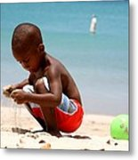 Little Boy Playing With Sand On The Beach Metal Print