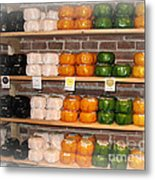 Little Cheeses On A Shelf In Amsterdam Metal Print