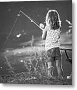 Little Fishing Girl Metal Print