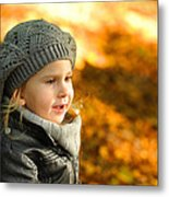 Little Girl In Autumn Leaves Scenery At Sunset Metal Print