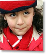 Little Girl In Red Metal Print